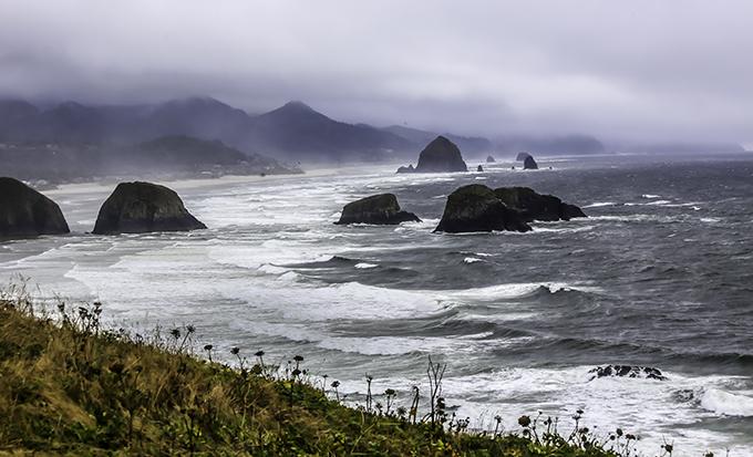 Cannon Beach nahe  Tillamook Rock Lighthouse Oregon USA